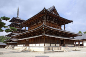 "The Golden Hall, a relic of Japan's ancient past. ""Horyu-ji11s3200"" by 663highland - 663highland. Licensed under CC BY 2.5 via Commons -"