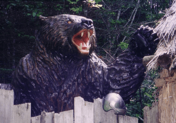 A statue of Kesagake, the brown bear responsible for the worst bear attacks in Japanese history.