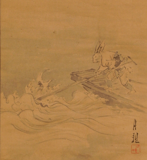 800px-Rabbit's_Triumph_-_climax_of_the_Kachi-kachi_Yama.markings_of_Ogata_Gekko.detail_-_image_for_k-k_y_article.version_1.wittig_collection_-_painting_22