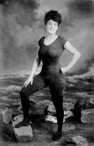 Annette Kellerman in a period swimsuit.