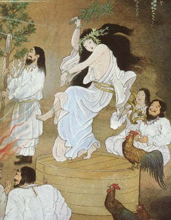 Ume no Uzume The seductive dance meant to lure Amaterasu from her cave. by Kinuko Y. Craft