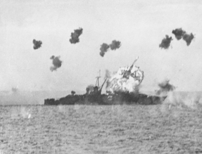 USS Louisville hit by a kamikaze.