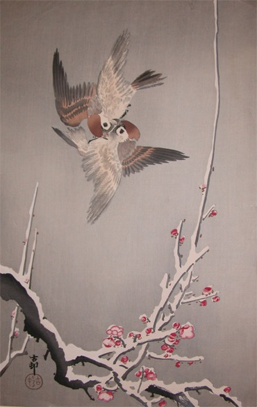 Koson. C. 1912 Sparrows Above Snow Covered Plum Tree