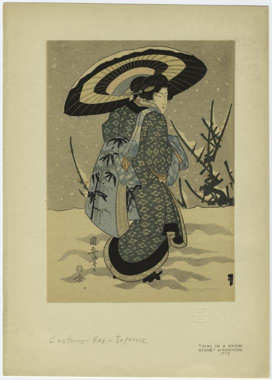 Girl In A Snowstorm. by Utagawa Kuniyasu