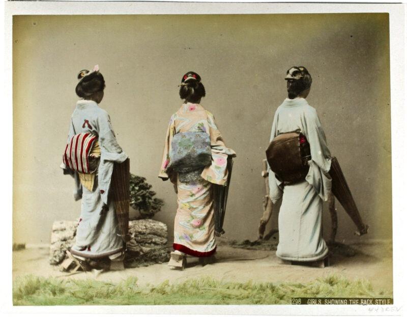 Kusakabe Kimbei - Girls shhowing the back style