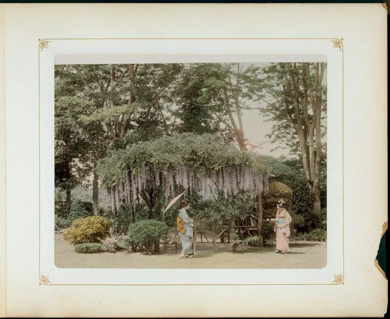 Photograph of two Japanese women in a garden.