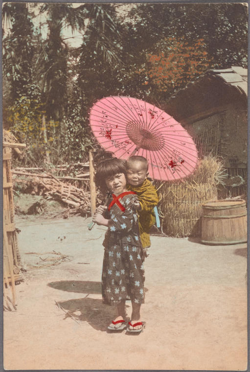 Girl with a Parasol Carrying Infant on Back