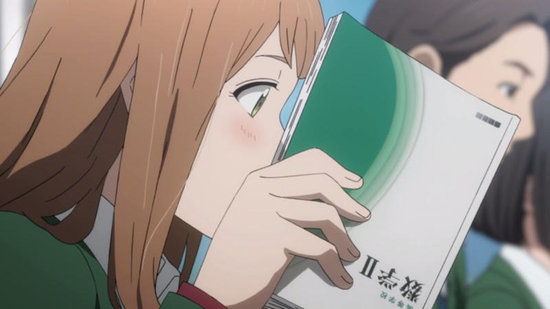 reading a book in orange anime
