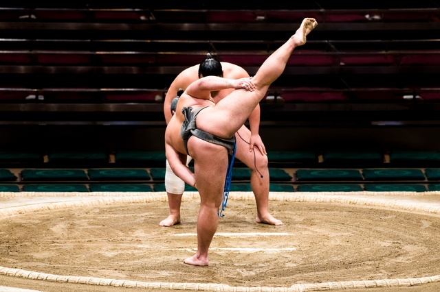 The sumo stomp drives evil spirits away from the ring.
